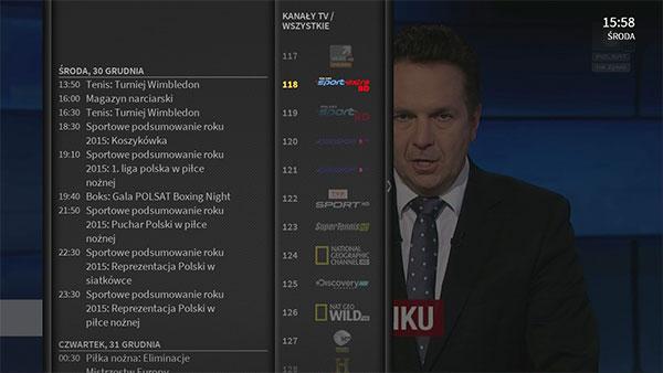 widok menu Evobox PVR