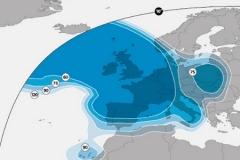 zasięg satelity Astra 2E (wiązka europejska)