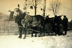 Nasutów zimą, w tle dworki oficjalistwów