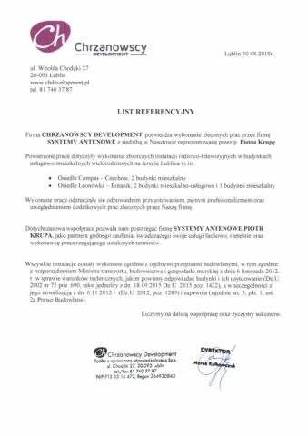 Referencje - Chrzanowscy Development