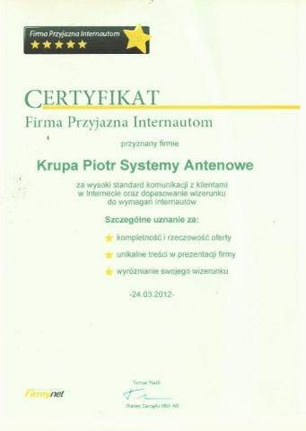 Certyfikat - Firmy-net