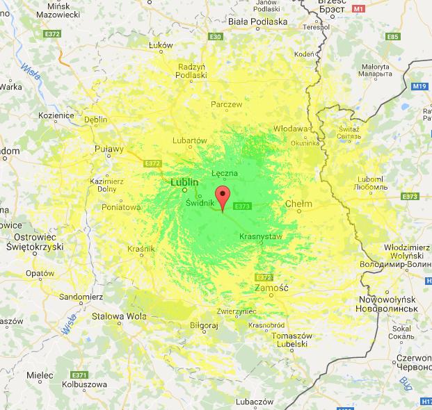 zasięg radia DAB+ Lublin