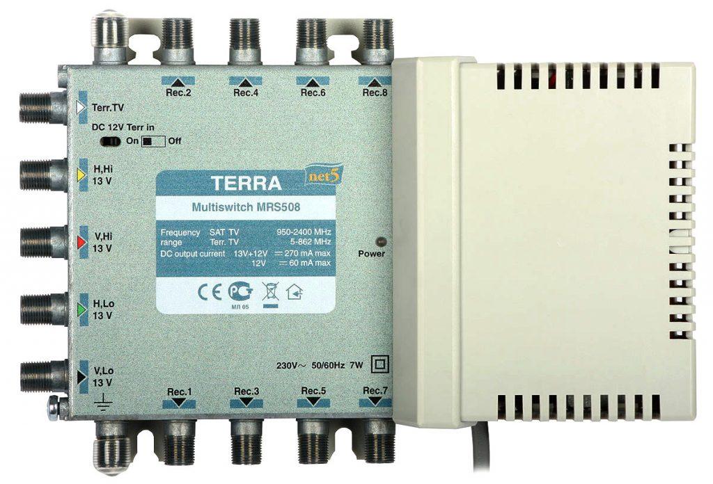 Multiswitch MRS-508 Terra klasa A, 5-wejściowy 8-wyjściowy z pasywnym torem TV naziemnej