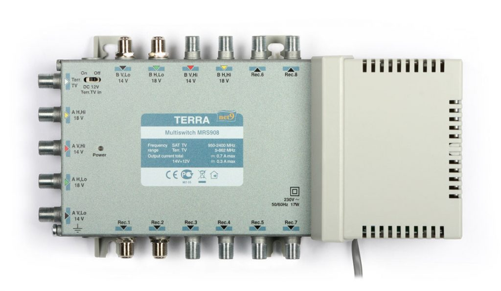 Multiswitch MRS-908 Terra klasa A, 9-wejściowy 8-wyjściowy z pasywnym torem TV naziemnej