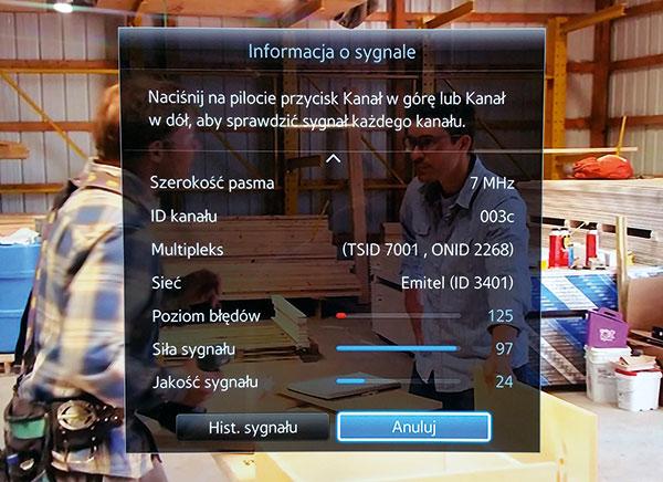 Informacja o sygnale z anteny Turbo 35 dB na Samsungu