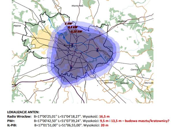 Mapka zasięgu multipleksu LokalDAB we Wrocławiu