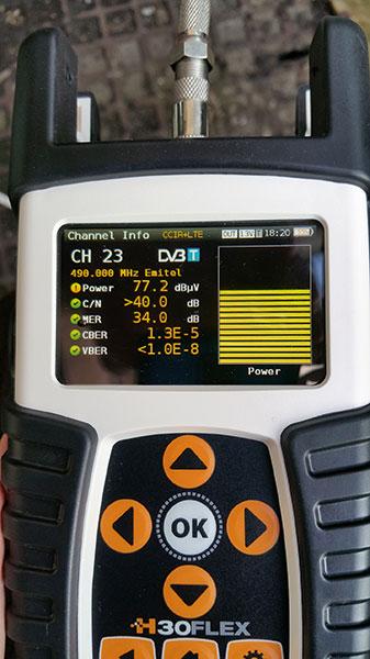 Pomiary na mierniku Televes H30 Flex