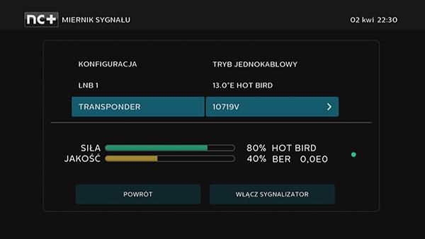 Miernik sygnału Hot Bird w dekoderze 4K UltraBox