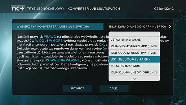 Tryb jednokablowy unicable Konwerter lub multiswitch w 4K UltraBOX+