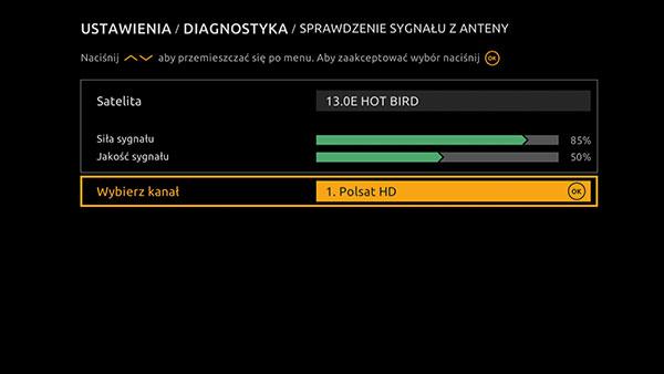 Ustawienia sprawdzenie sygnału Cyfrowy Polsat HD 6000