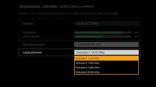 Ustawienie unicable Cyfrowy Polsat HD 6000