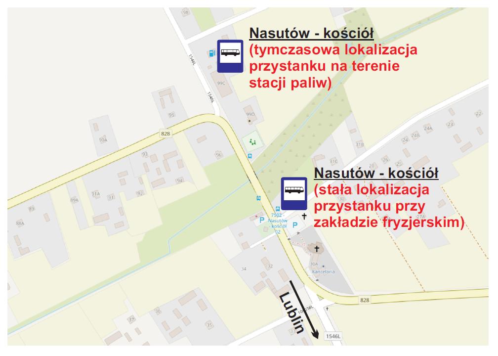 Tymczasowe przeniesienie przystanku linii 24 w Nasutowie