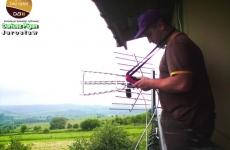 Ustawienie anteny z pomiarem sygnału - Kalwaria Pacławska