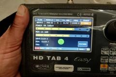 Parametry sygnału z Hot Bird na konwerterze Unicable I i antenie Corab 800